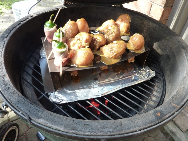 Nordic Ware 2a Chicken Leg Griller and jalapeno roaster on Big Green Egg BBQ